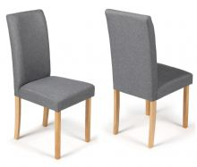 Pair of Grey Fabric Torino Dining Chairs 1/2 Price Deal